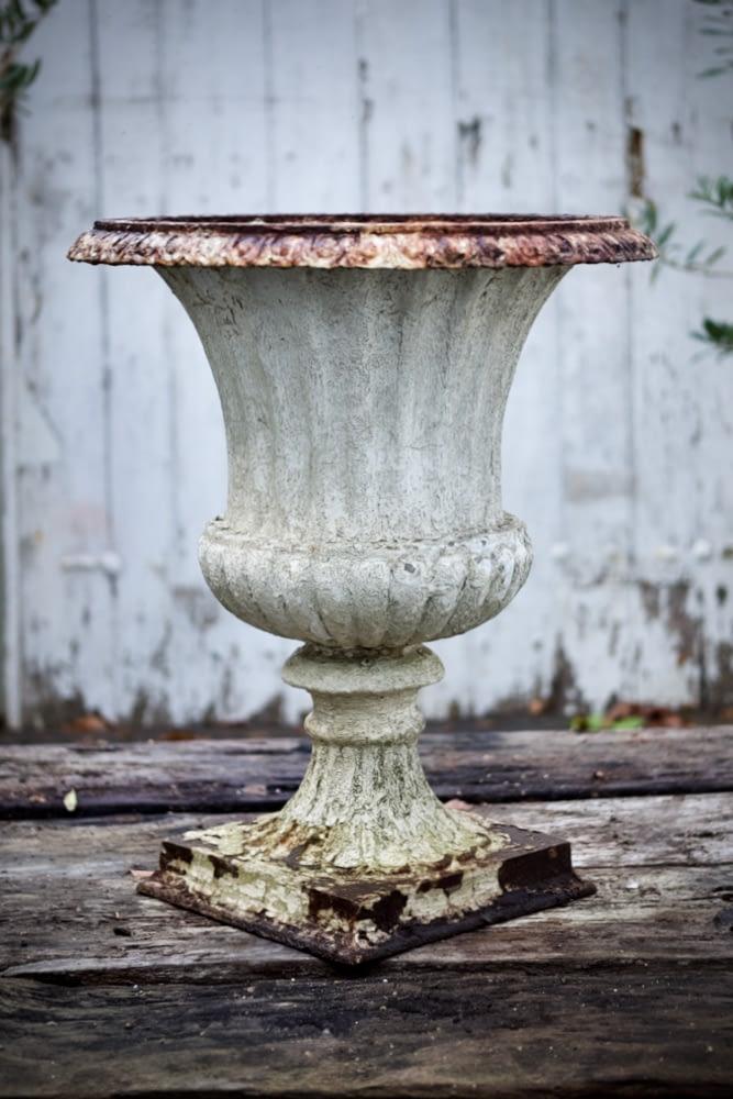 Antique, large cast iron urn