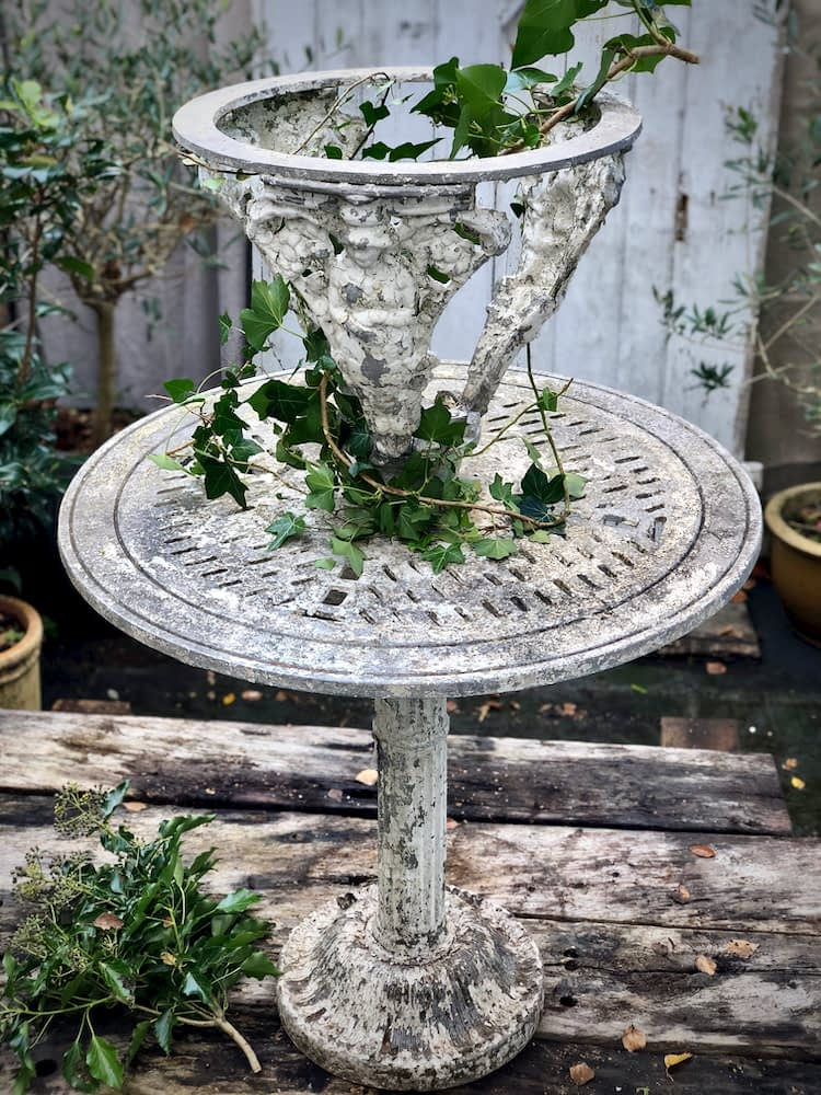 French antique garden table with plant stand